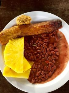 Vegan Breakfast in Nicaragua - streamed plantain, peanutbutter, beans and pineapple
