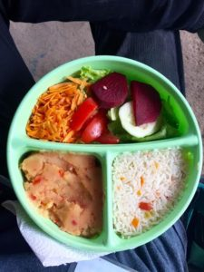 Nicaraguan Vegan Lunchbox - Rice, root vegetable mash with tomatoes and salad