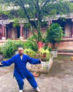 The Taoist Taoshi practicing taiji.